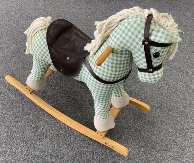 Green and White Rocking horse