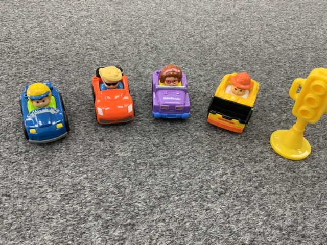 Little People Set of 4 cars and traffic light